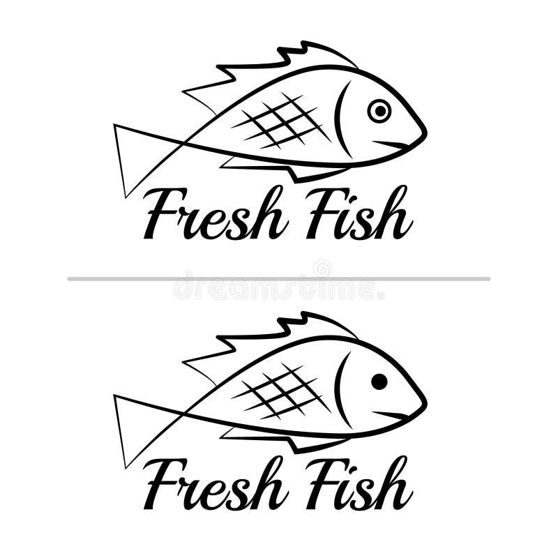 Ensemble coloré 9 de noir simple de signe d'icône de symbole de logo de poisson frais illustration stock