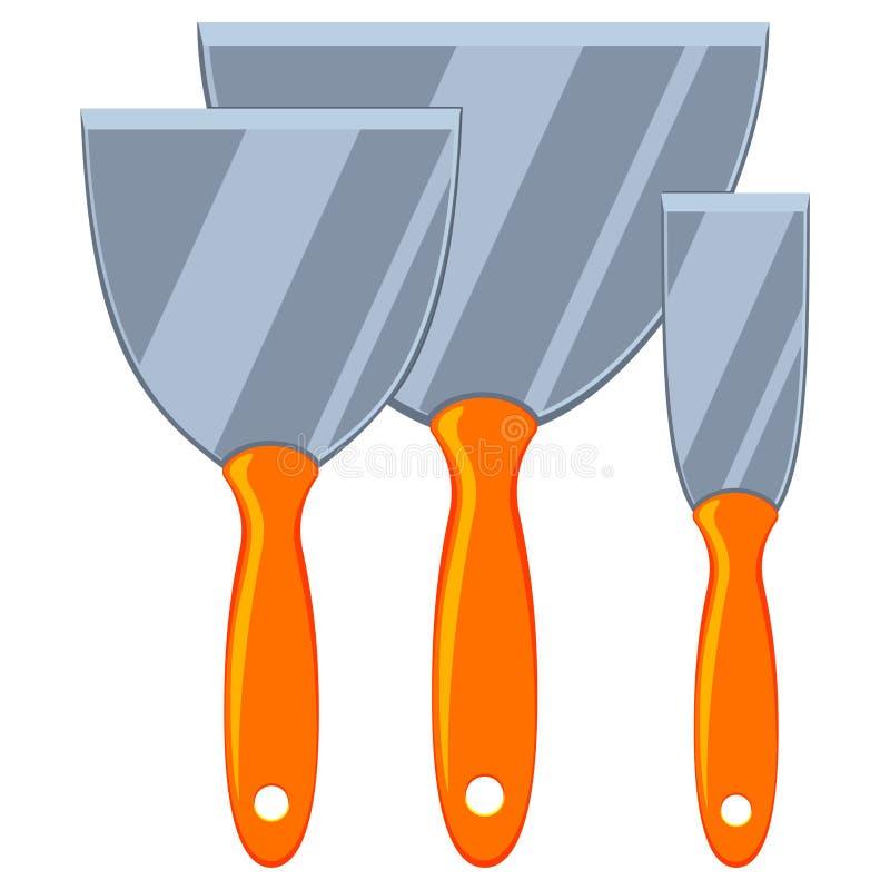 Ensemble coloré de spatule en métal de bande dessinée illustration stock