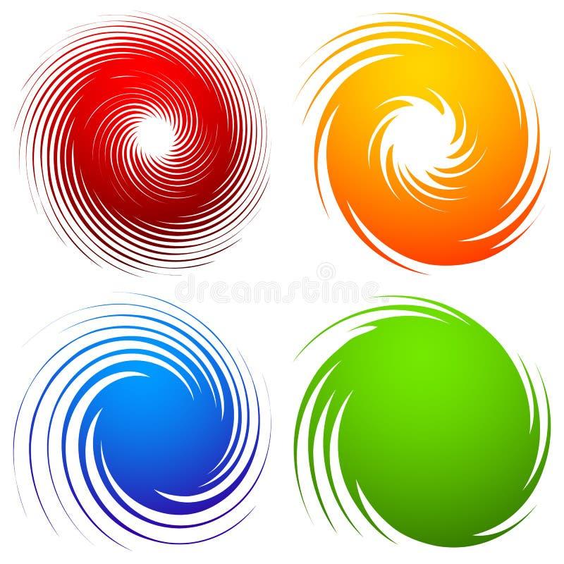 Ensemble coloré de spirale Remous abstrait, éléments de conception de pirouette avec illustration libre de droits