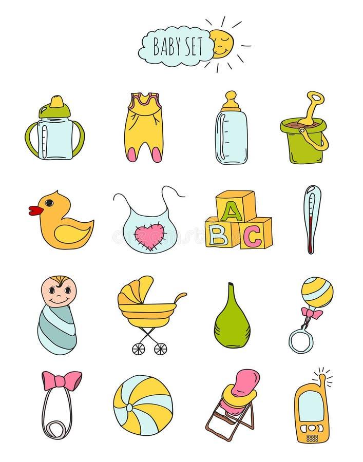 Ensemble coloré de style dessiné des icônes des enfants à disposition Accessoires, habillement et jouets pour les nouveaux-nés 2  illustration libre de droits