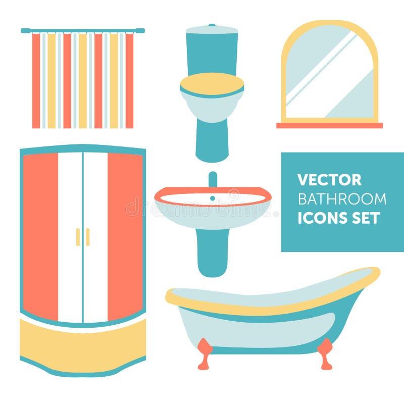 Ensemble coloré de vecteur d'icônes de salle de bains dans le style plat moderne illustration de vecteur