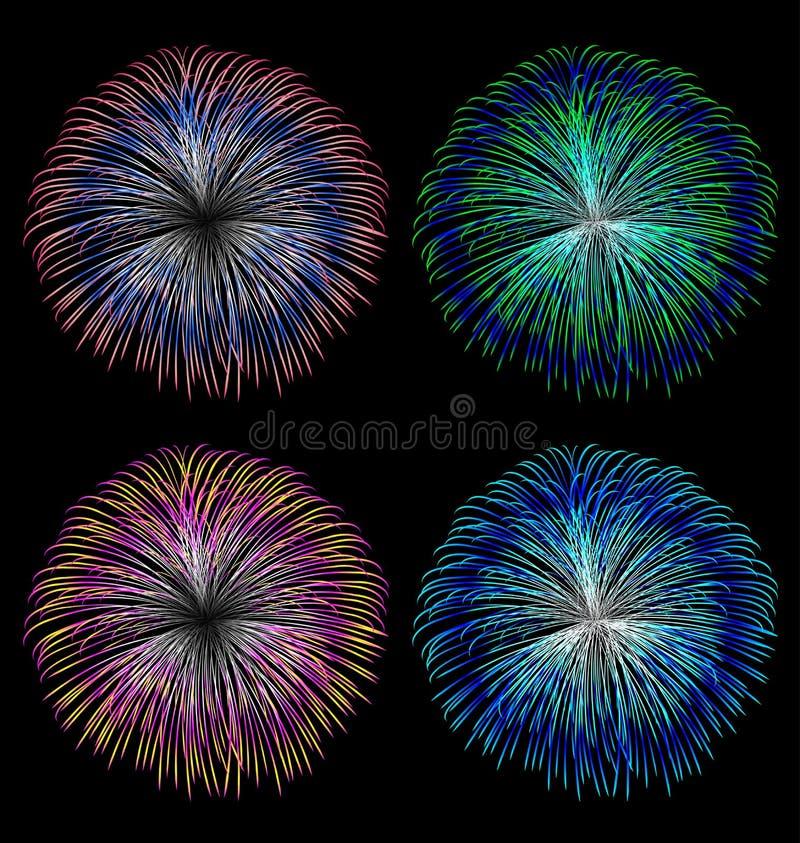 Ensemble coloré de vecteur de feux d'artifice illustration libre de droits