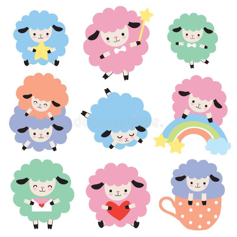 Ensemble coloré mignon de vecteur de moutons illustration de vecteur