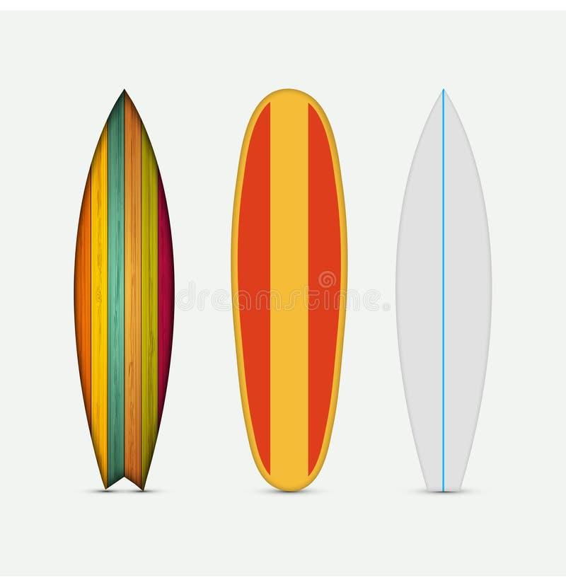 Ensemble coloré moderne de planche de surf de vecteur illustration libre de droits