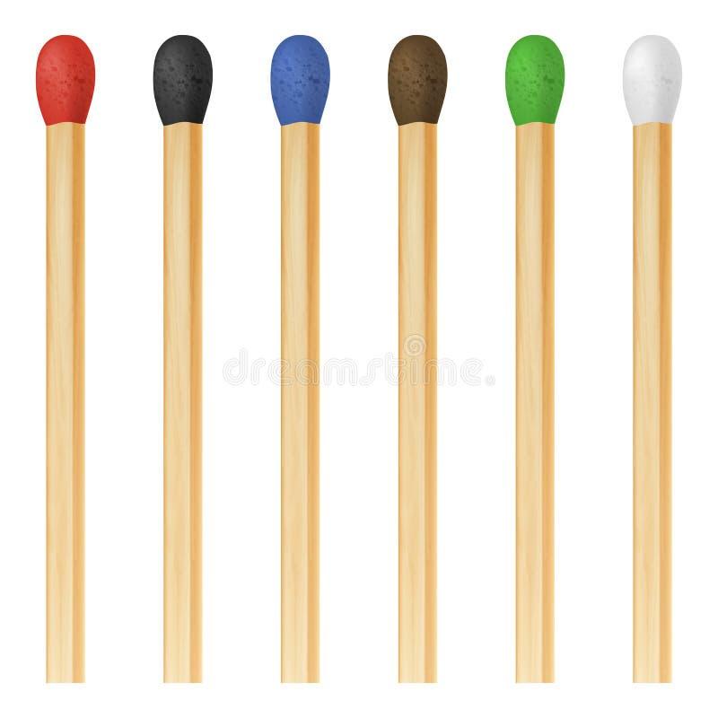 Ensemble coloré réaliste d'icône de bâton de match du vecteur 3d, plan rapproché d'isolement sur le fond blanc Tête rouge, noir,  illustration de vecteur