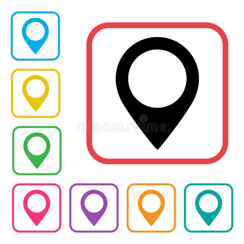 Ensemble color? d'ic?ne d'indicateur de carte Graphisme d'emplacement Vecteur illustration libre de droits