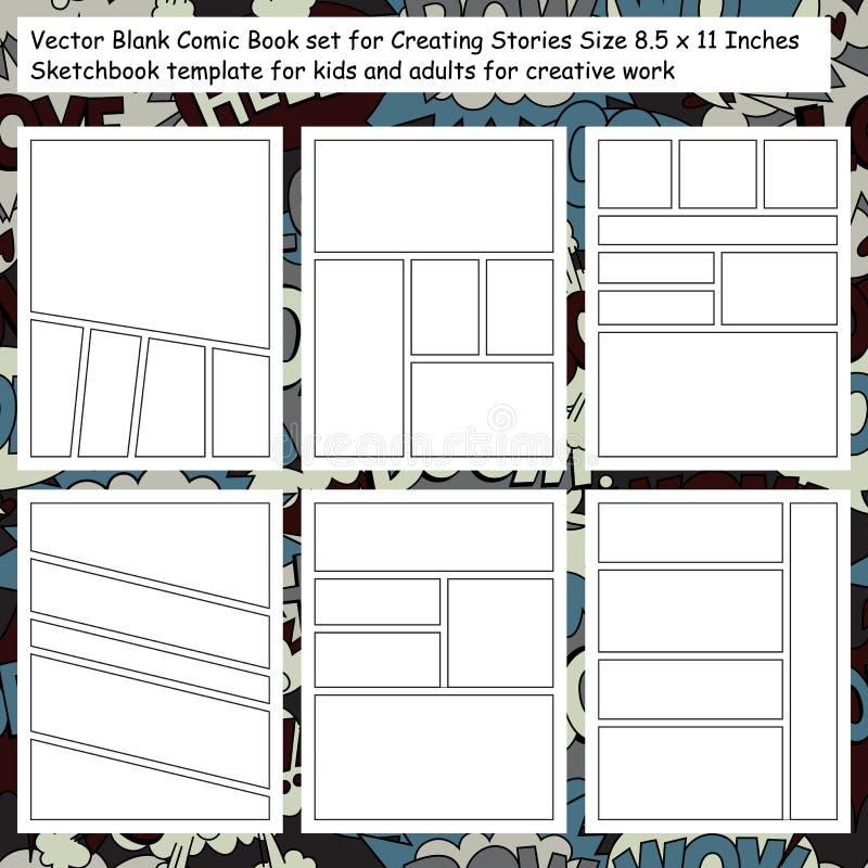 Ensemble comique de pages de carnet à dessins illustration stock