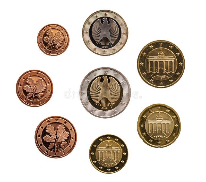 Ensemble complet d'euro pièces de monnaie l'Europe Allemagne d'isolement sur le fond blanc photos libres de droits