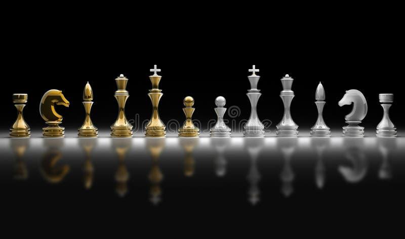 Ensemble complet de pièces d'échecs illustration de vecteur