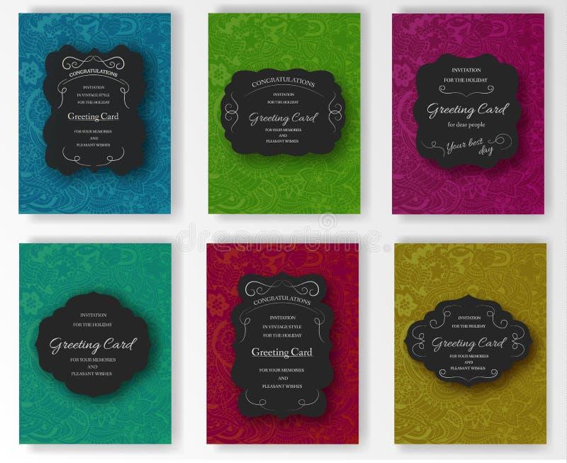 Ensemble conception décorative de carte de voeux de hippies de vecteur de rétro, de carte postale, d'emballage ou d'invitation Ar illustration stock