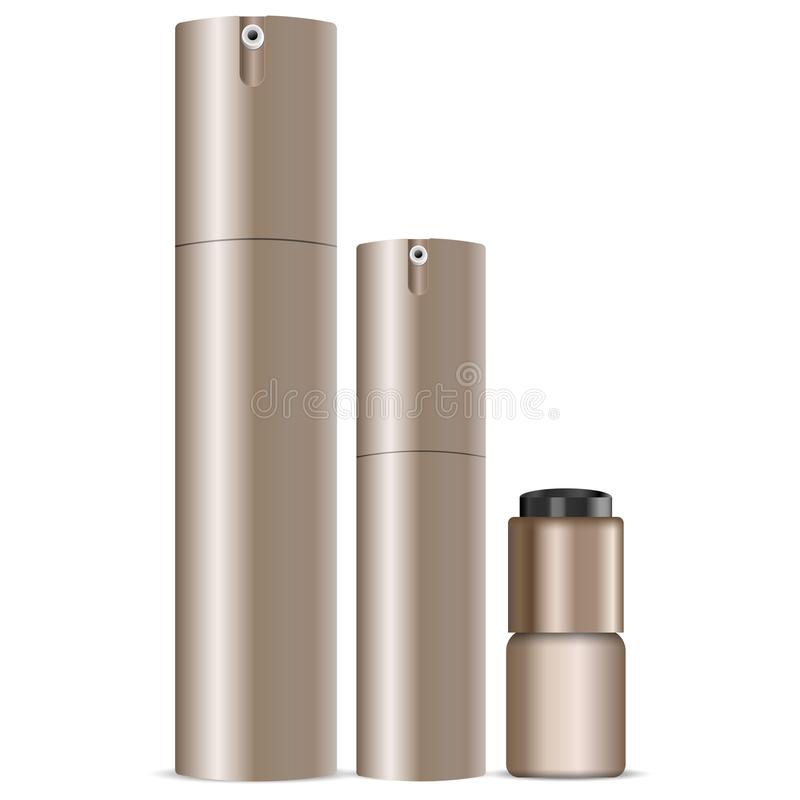 Ensemble cosmétique de boîte de jet Bouteilles de distributeur pour le désodorisant, parfume, crème, découpe d'oeil Vecteur d'or  illustration stock