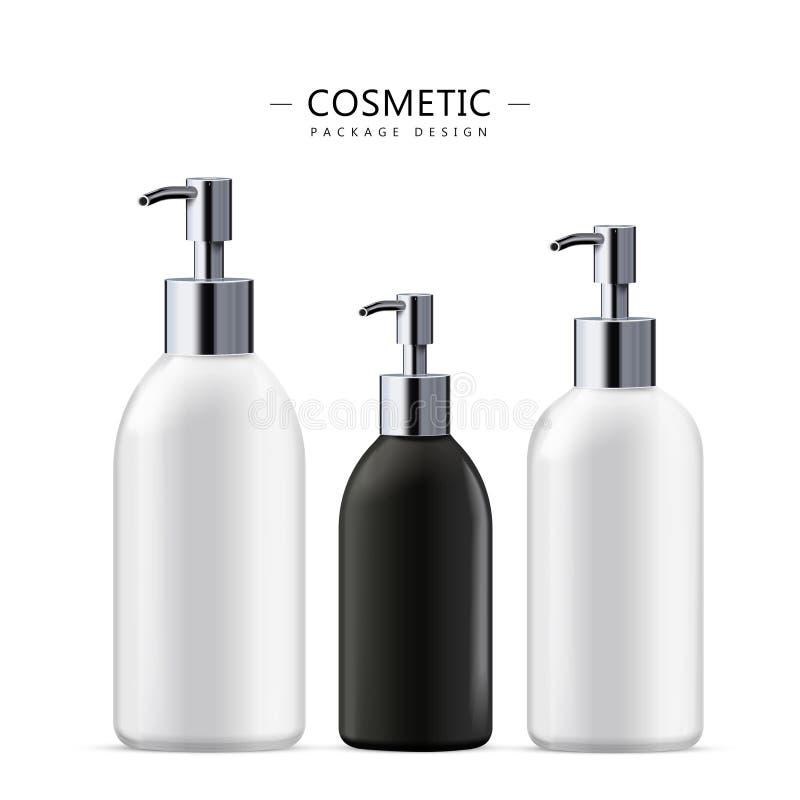 Ensemble cosmétique de bouteille de savon liquide illustration libre de droits