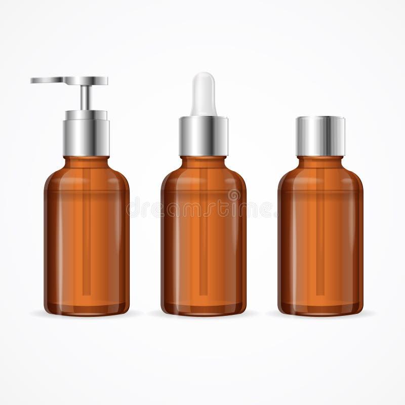 Ensemble cosmétique de maquette de calibre de bouteille de médecine détaillée réaliste du blanc 3d Vecteur illustration libre de droits