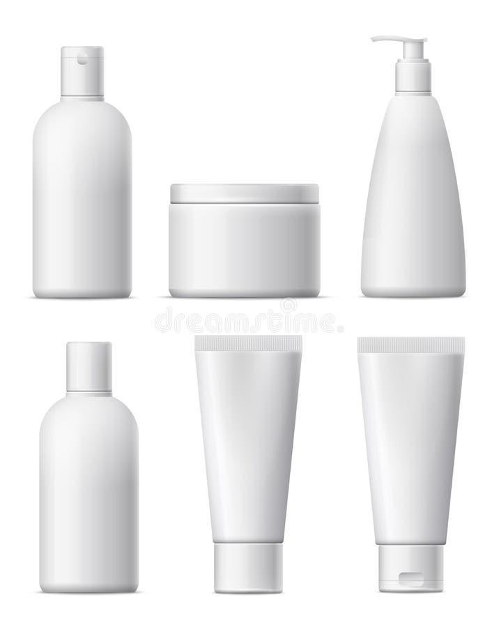 Ensemble cosmétique vide de paquet Bouteille en plastique blanche, produit de beauté illustration stock