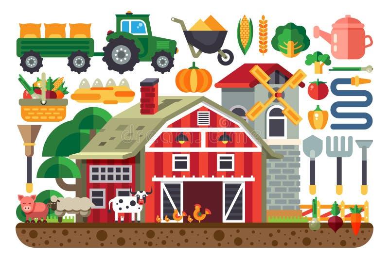 Ensemble courant d'illustration de vecteur d'icônes pour des affaires de ferme, maison, tracteur, outils, artiodactyles, domestiq illustration libre de droits