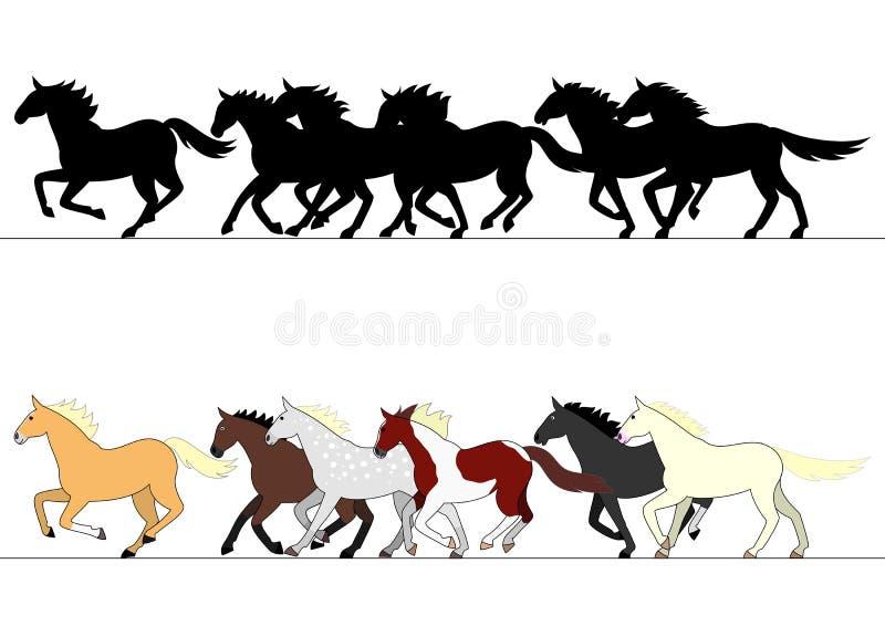 Ensemble courant de groupe de chevaux illustration de vecteur