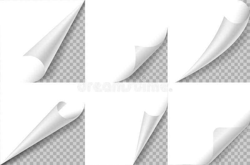 Ensemble courbé de coins Coin de papier de boucle de page, feuille de pli de tour de secousse Angle bouclé d'autocollant, bloc-no illustration stock