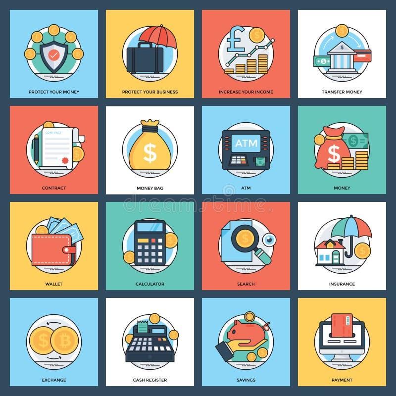 Ensemble créatif d'icône d'opérations bancaires et de finances illustration stock
