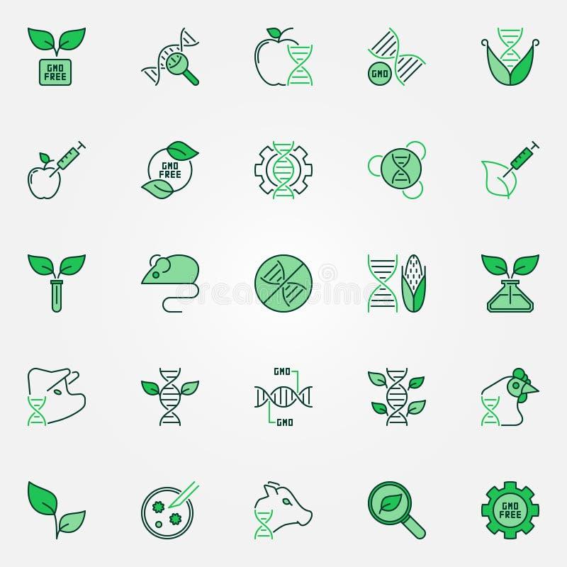 Ensemble créatif d'icônes de vecteur de GMO Signes génétiques de modification illustration de vecteur