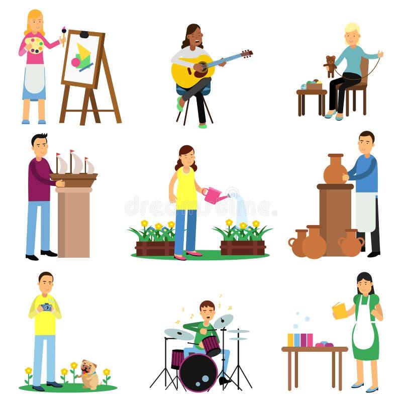 Ensemble créatif de personnes adultes et de leurs passe-temps Faisant cuire, peignant, jouant la guitare et la perche, broderie,  illustration de vecteur