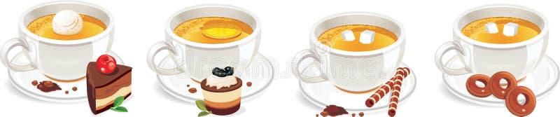 Ensemble créatif de vecteur d'éléments de conception de thé illustration stock