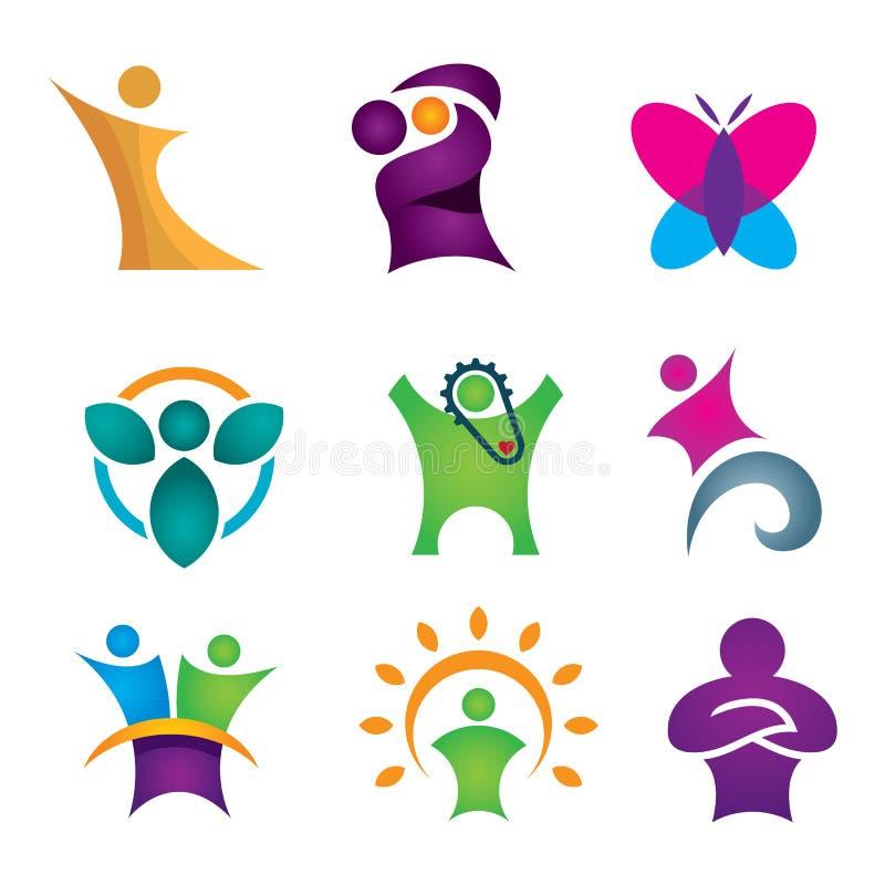 Ensemble créatif et abstrait heureux d'icône de personnes pour le succès humain dans la portée pour l'étoile illustration stock