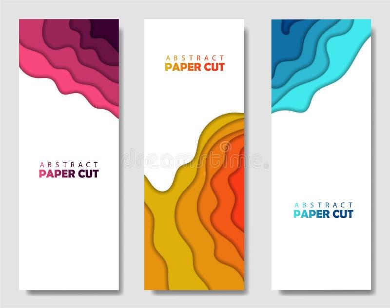 Ensemble créatif moderne d'affiches avec un fond 3d abstrait et des formes de coupe de papier Disposition de conception, calibre  illustration de vecteur