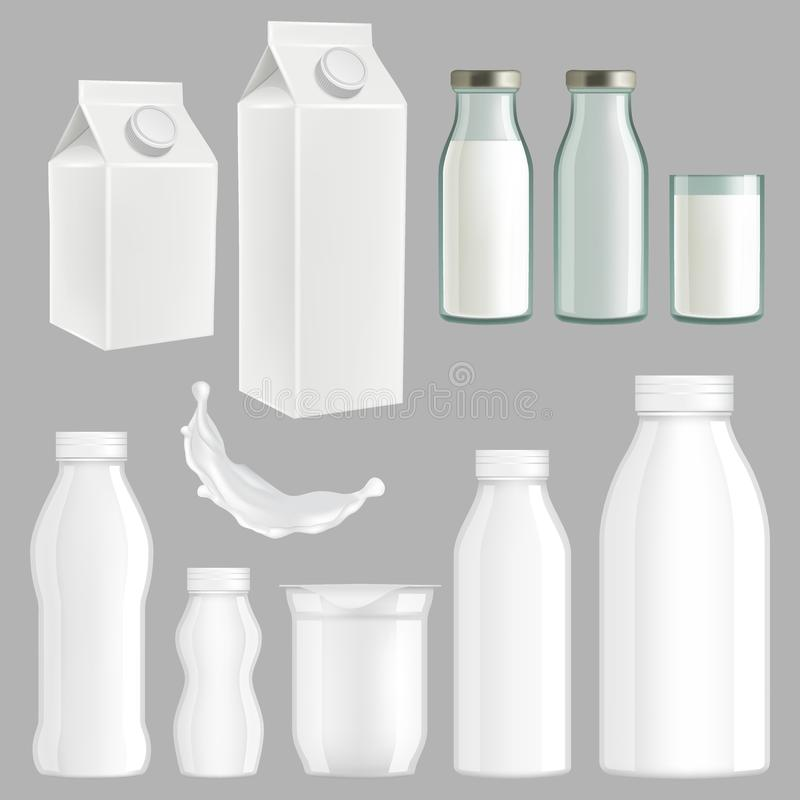 Ensemble créatif réaliste de conception d'emballage de lait de vecteur illustration libre de droits