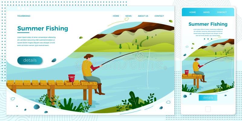 Ensemble croisé de pêcheur d'illustration de plate-forme de vecteur illustration de vecteur