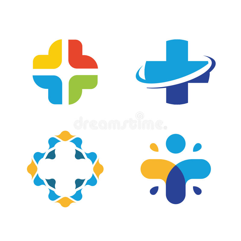 Ensemble croisé peu commun de logo de vecteur Symbole de soins de santé Collection croisée colorée de logos illustration de vecteur