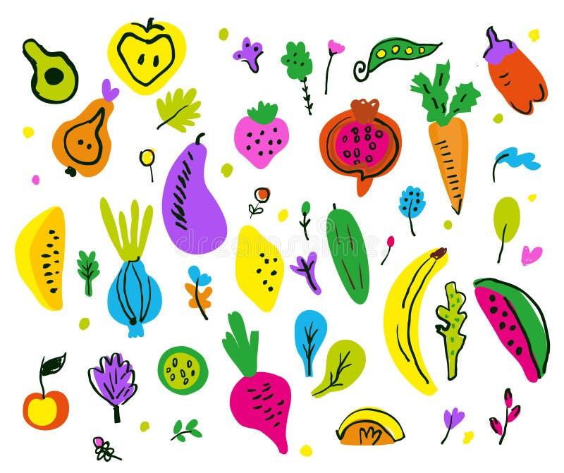 Ensemble décoratif de fruits et légumes, style peu précis Illustration de vecteur illustration de vecteur