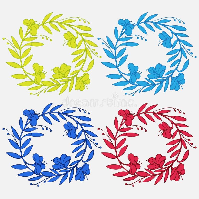 Ensemble décoratif de vintage tiré par la main le bel de lauriers et les guirlandes de fleur gribouillent la guirlande antique, é illustration stock