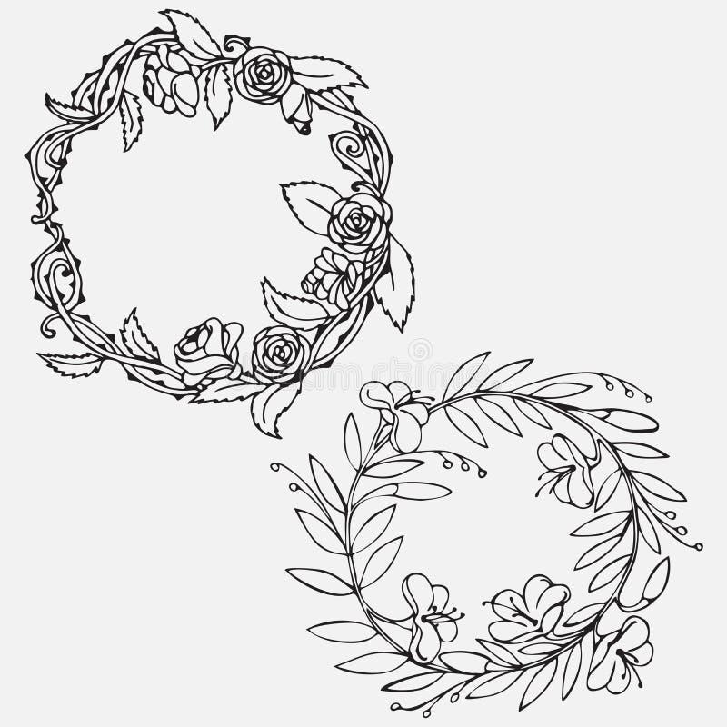 Ensemble décoratif de vintage tiré par la main le bel de lauriers et les guirlandes de fleur gribouillent la guirlande antique, é illustration libre de droits