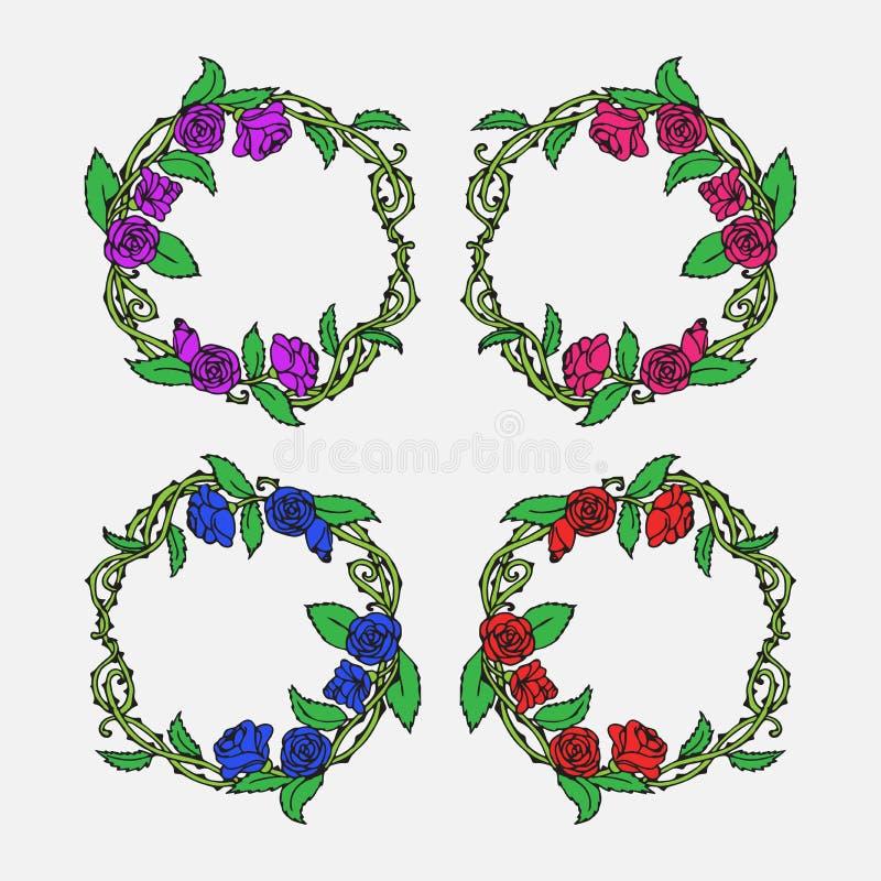 Ensemble décoratif de vintage tiré par la main le bel de roses antiques de griffonnage de lauriers et de guirlandes de fleur tres illustration de vecteur