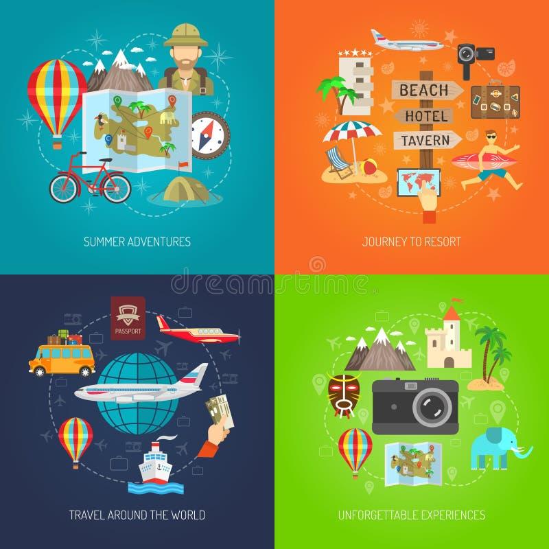 Ensemble décoratif plat d'icône de voyage illustration libre de droits