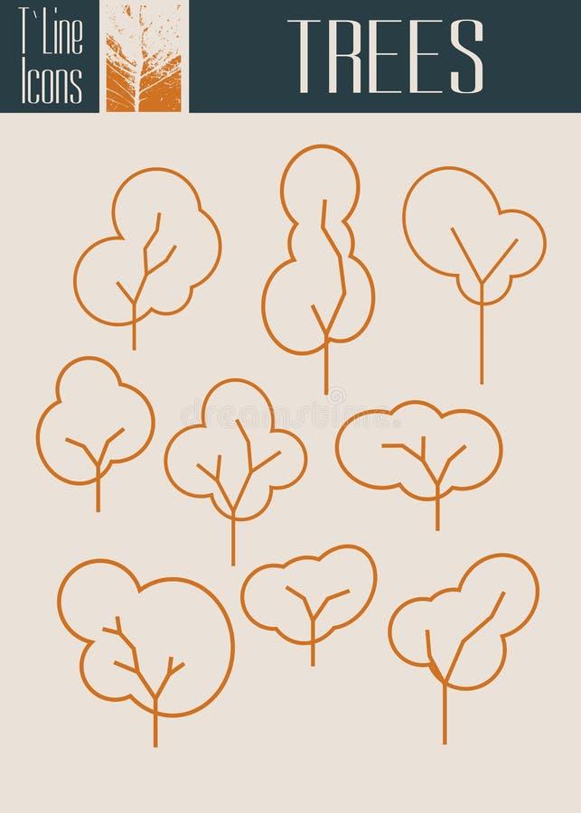 Ensemble décrit assorti d'icône d'arbre d'isolement Saison d'automne illustration libre de droits