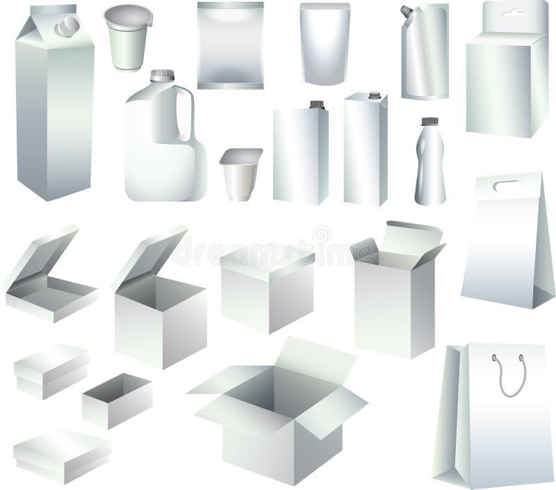 Calibres de empaquetage de boîtes de papier et de bouteilles illustration libre de droits