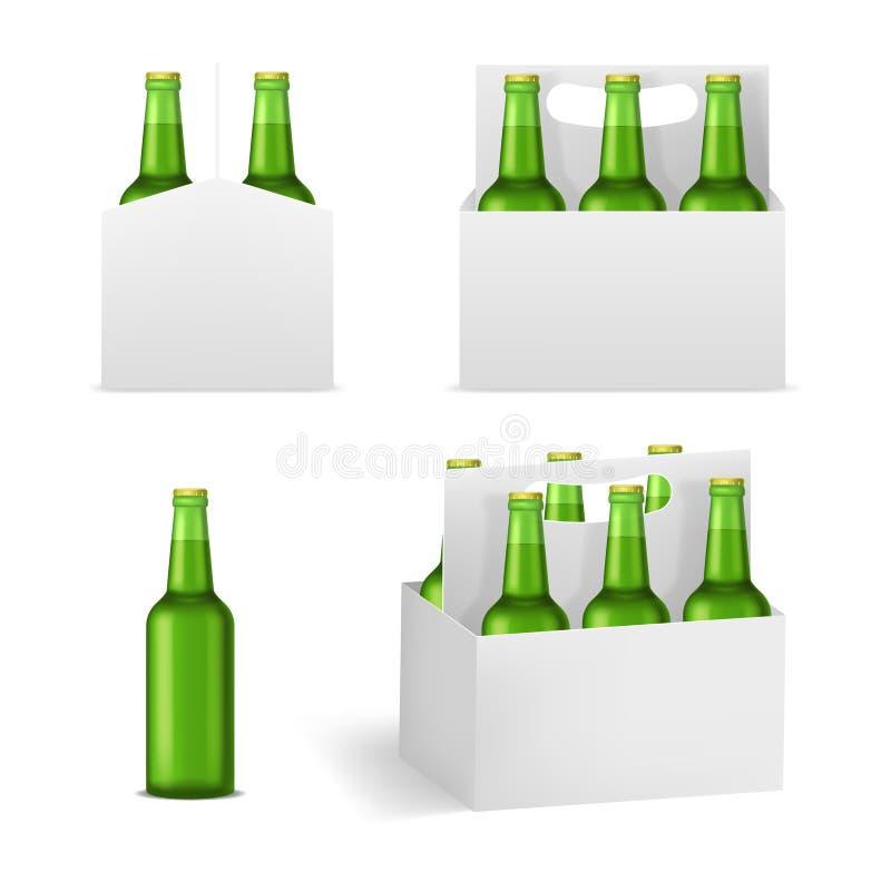 Ensemble détaillé réaliste de paquet de bouteilles à bière 3d Vecteur illustration stock