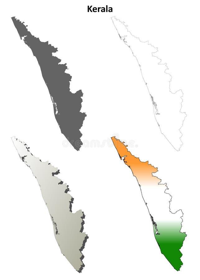 Ensemble détaillé vide de carte d'ensemble du Kerala illustration stock