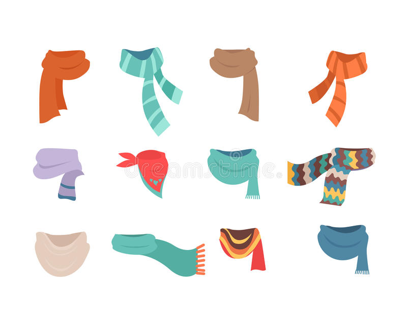 Ensemble d'écharpes pour le temps froid aux garçons et aux filles illustration libre de droits