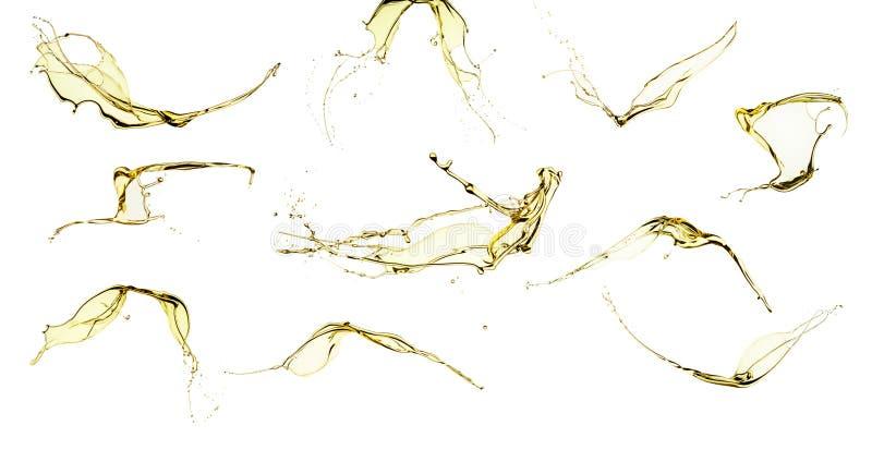 Ensemble d'éclaboussement d'huile d'olive d'isolement sur le fond blanc photographie stock