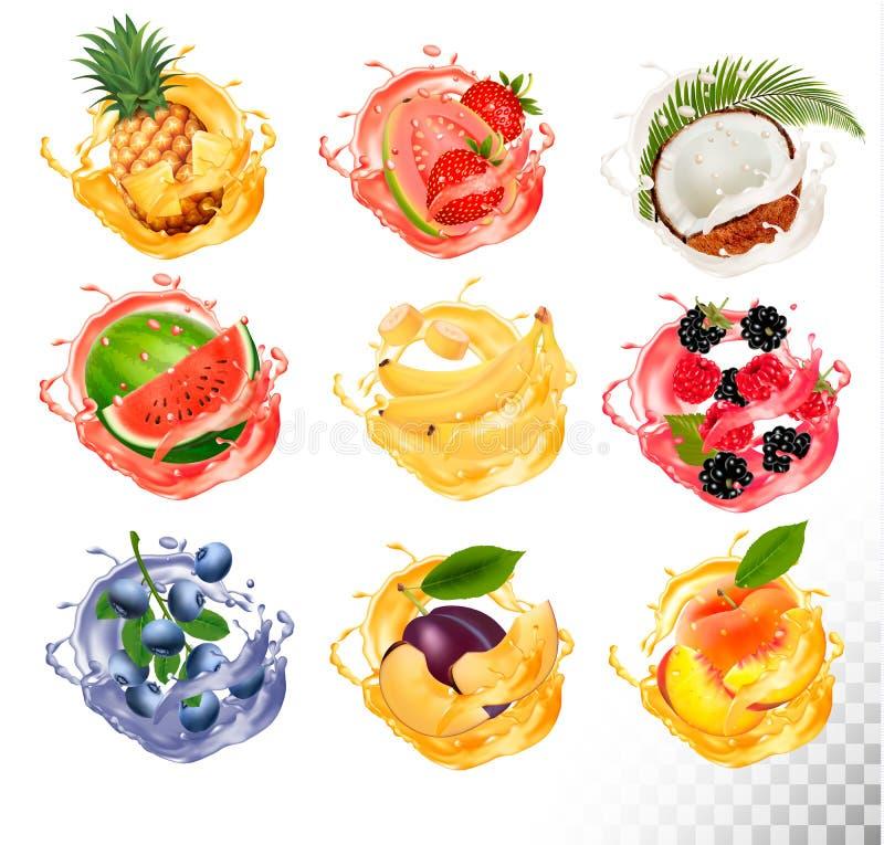 Ensemble d'éclaboussure de jus de fruit illustration de vecteur