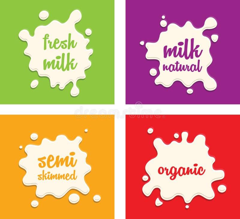 Ensemble d'éclaboussure de lait illustration de vecteur