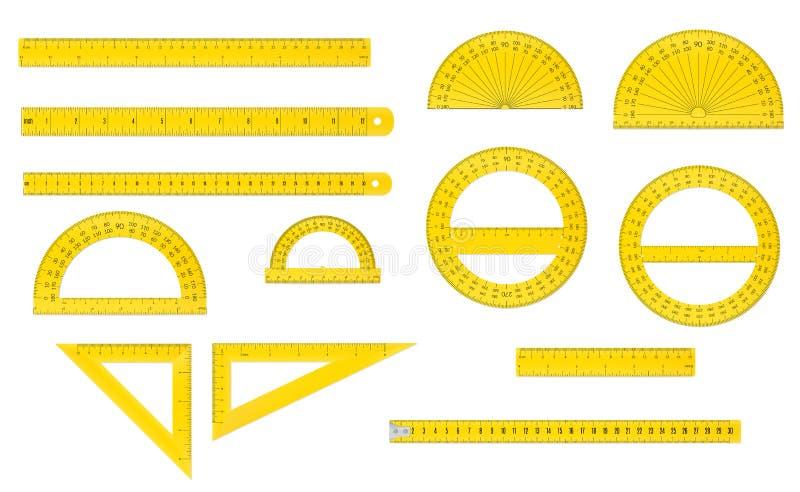 Ensemble d'école d'outils de mesure en plastique illustration de vecteur