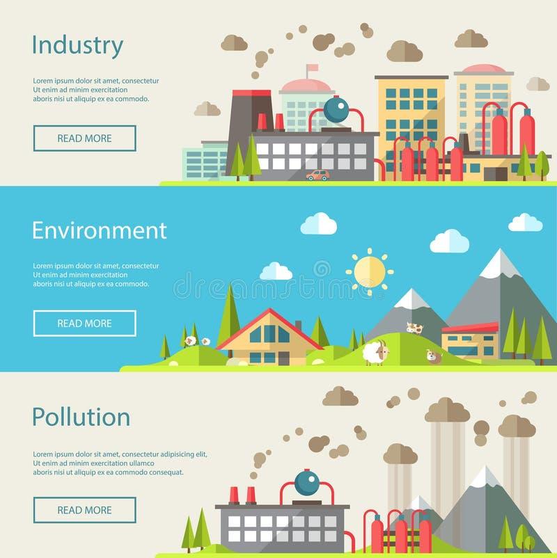 Ensemble d'écologique conceptuel de conception plate moderne illustration de vecteur