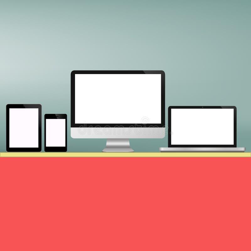 Ensemble d'écran d'informatique   illustration de vecteur
