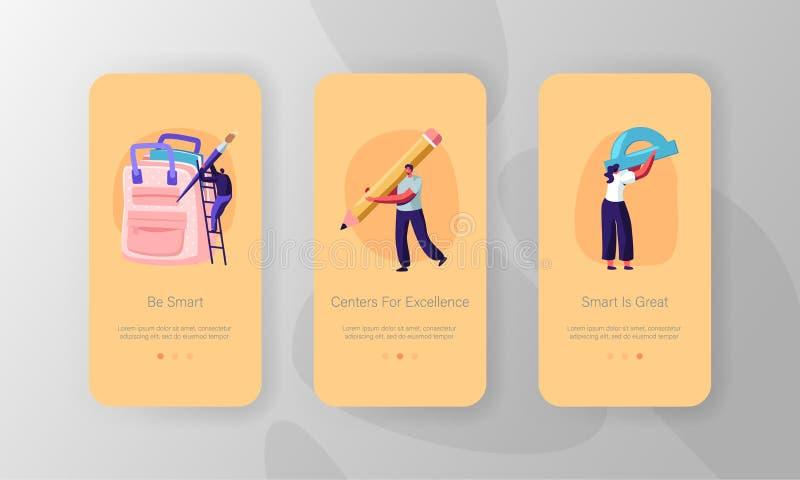 Ensemble d'écran de la page d'application mobile Education Knowledge Mobile Personnages féminins masculins Règle, papier à lettre illustration libre de droits