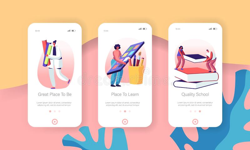 Ensemble d'écran de la page d'application mobile Education Knowledge Mobile Personnalité masculine et féminine ayant étudié l'équ illustration de vecteur