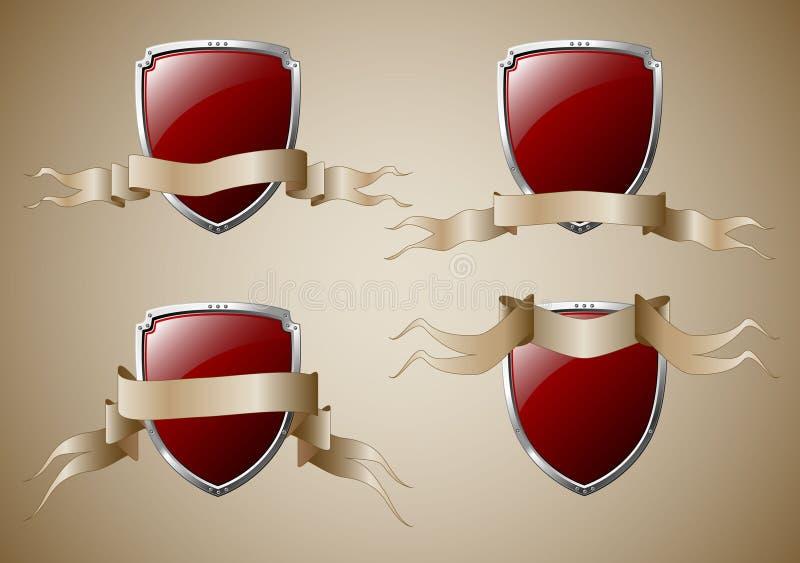 Ensemble d'écrans protecteurs avec des drapeaux illustration de vecteur
