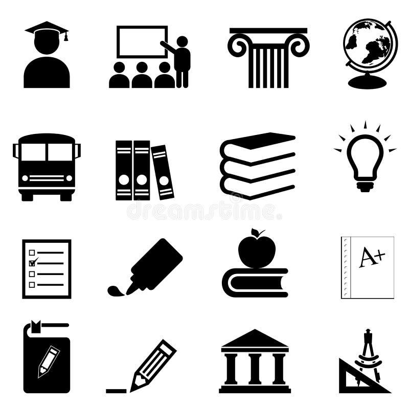 Icônes d'éducation et d'école illustration de vecteur